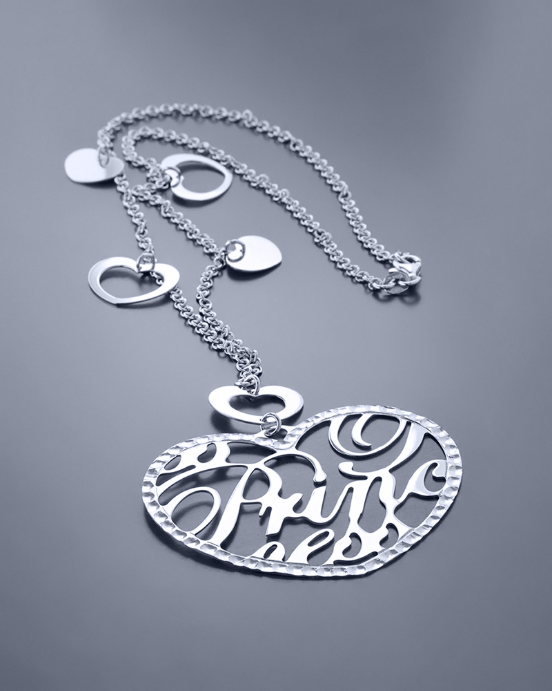 """Κολιέ """"Princess"""" ασημένιο 925   κοσμηματα κρεμαστά κολιέ κρεμαστά κολιέ καρδιές"""