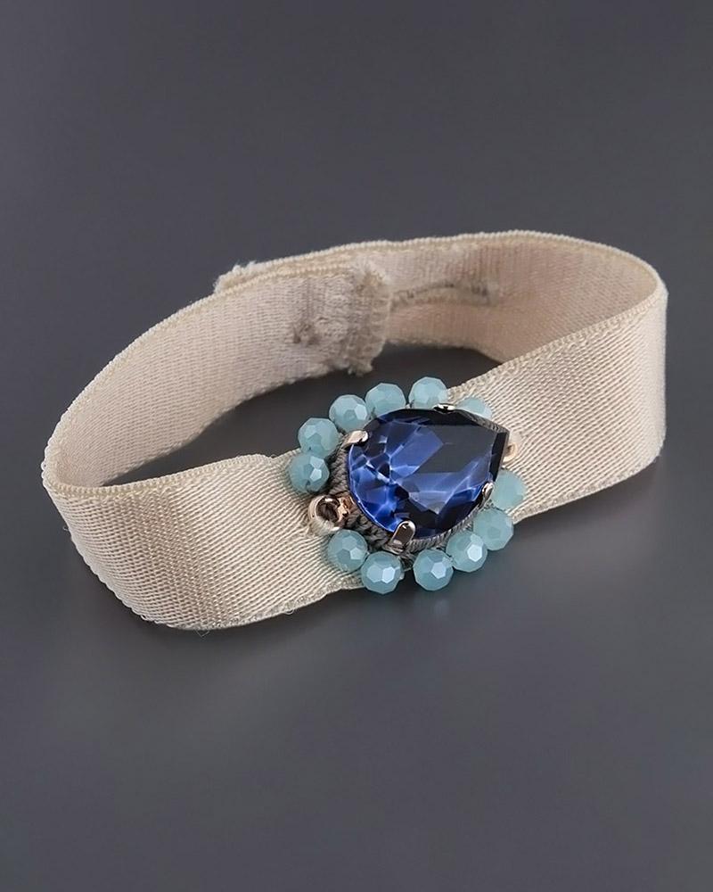 Βραχιόλι με Κρύσταλλο & Blueberry πέτρες   γυναικα βραχιόλια βραχιόλια fashion