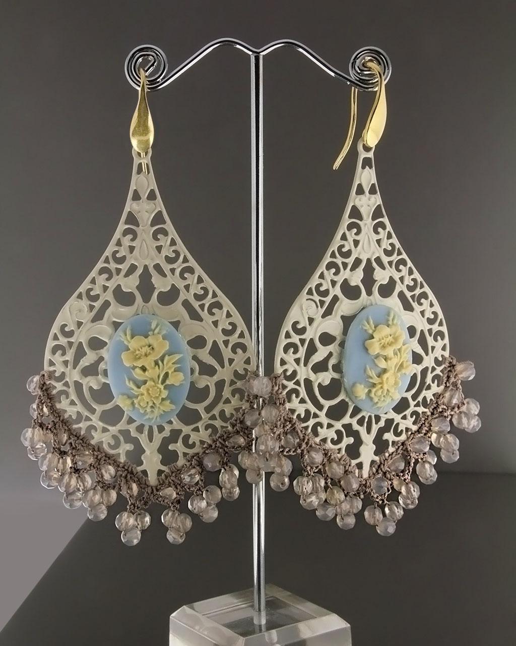Σκουλαρίκια με Σμάλτο, Ελεφαντόδοντο & Quartz   γυναικα σκουλαρίκια σκουλαρίκια ημιπολύτιμοι λίθοι