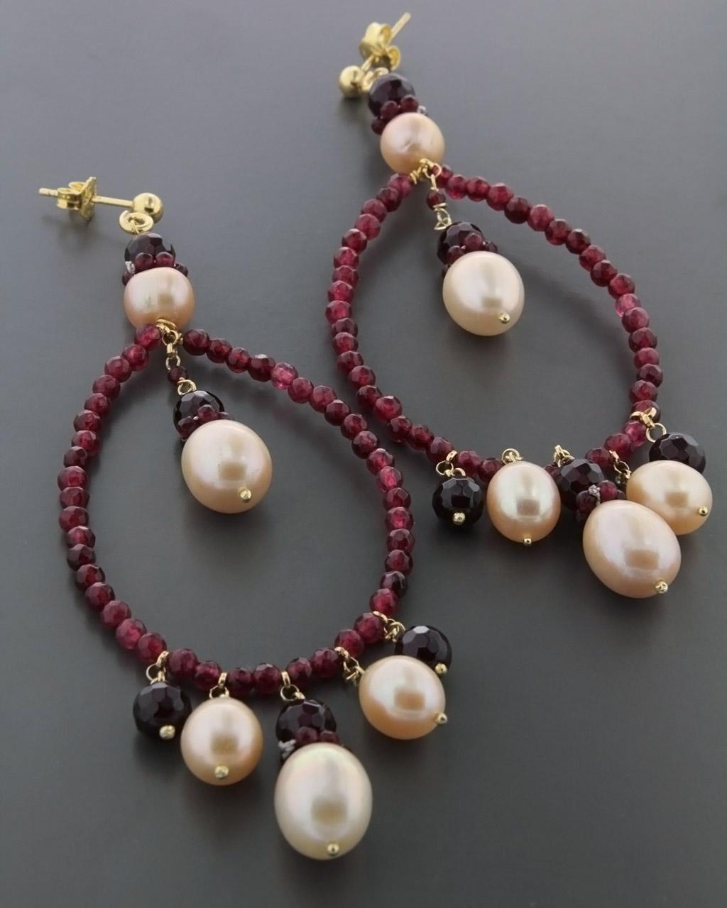 Σκουλαρίκια με Αχάτη & Μαργαριτάρια   γυναικα σκουλαρίκια σκουλαρίκια ημιπολύτιμοι λίθοι