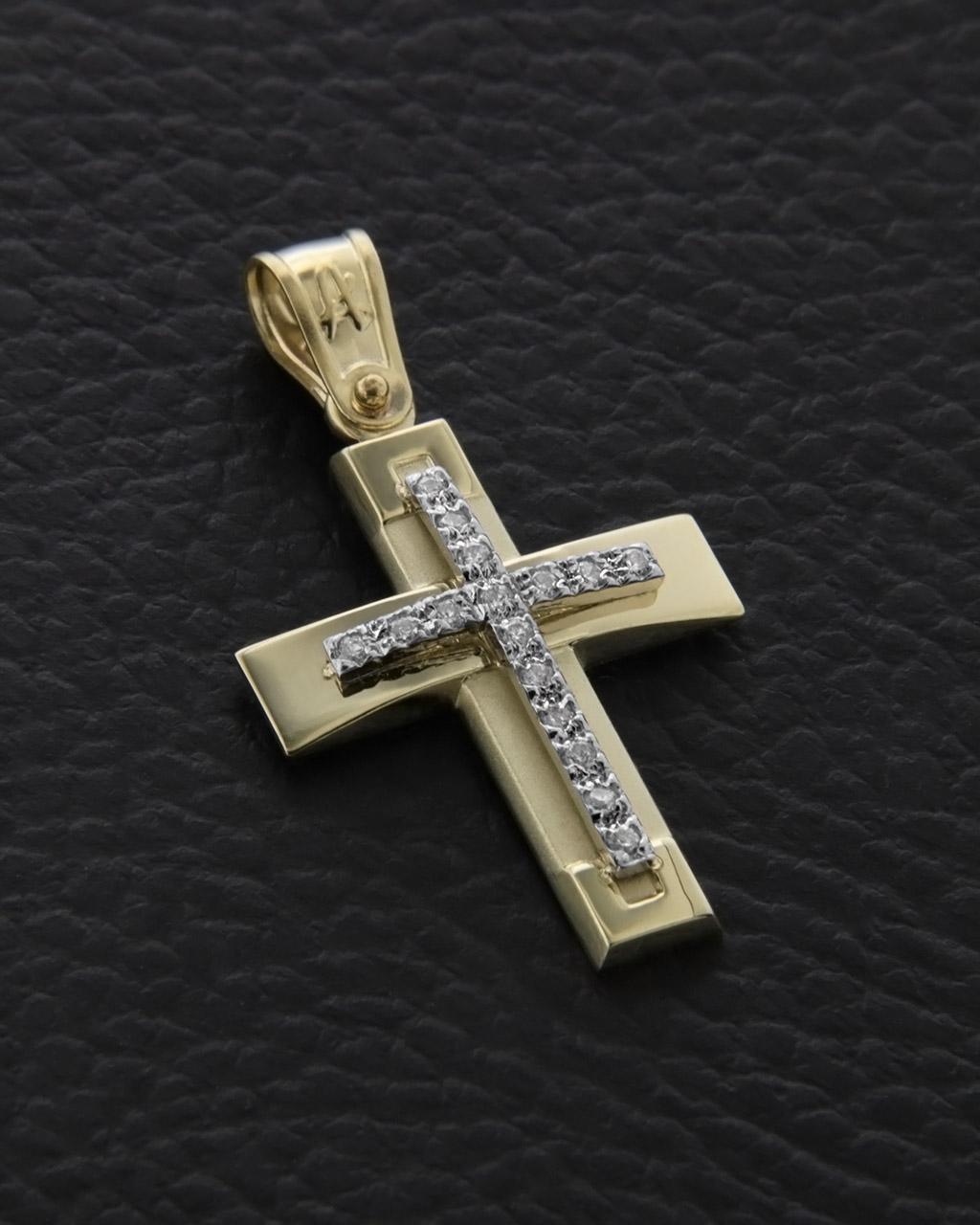 Σταυρός βαπτιστικός χρυσός Κ14 με Ζιργκόν   γυναικα σταυροί σταυροί χρυσοί