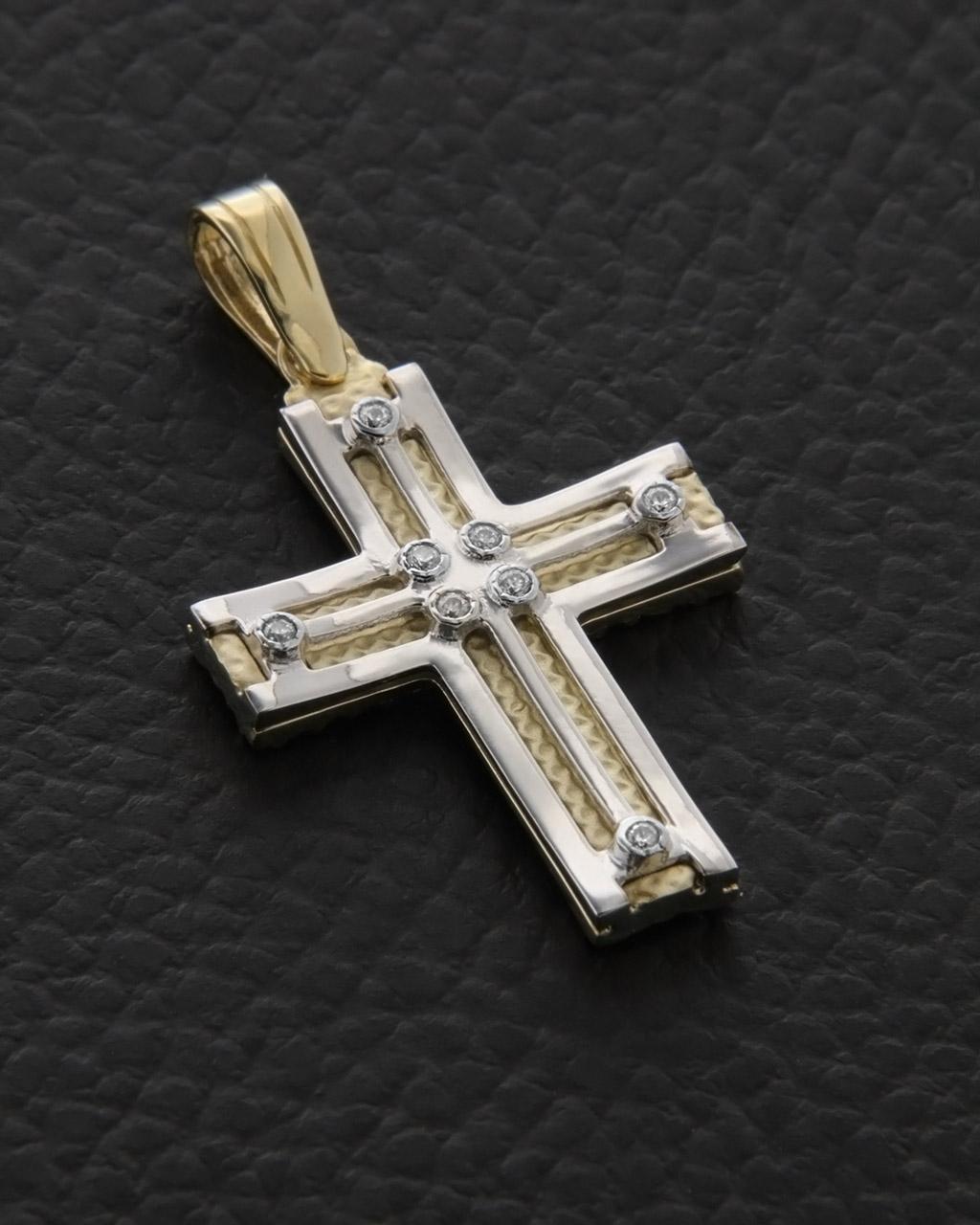 Σταυρός βάπτισης χρυσός & λευκόχρυσος Κ14 με Ζιργκόν δύο όψεων   γυναικα σταυροί σταυροί χρυσοί