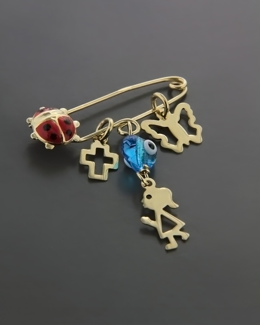 Φυλαχτό παιδικό χρυσό Κ9 με Σμάλτο   κοσμηματα κρεμαστά κολιέ παιδικά φυλαχτά