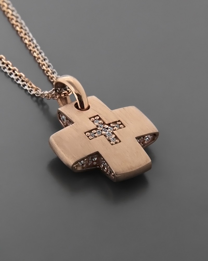 Σταυρός βάπτισης ροζ χρυσός Κ14 με Ζιργκόν   παιδι βαπτιστικοί σταυροί βαπτιστικοί σταυροί για κορίτσι