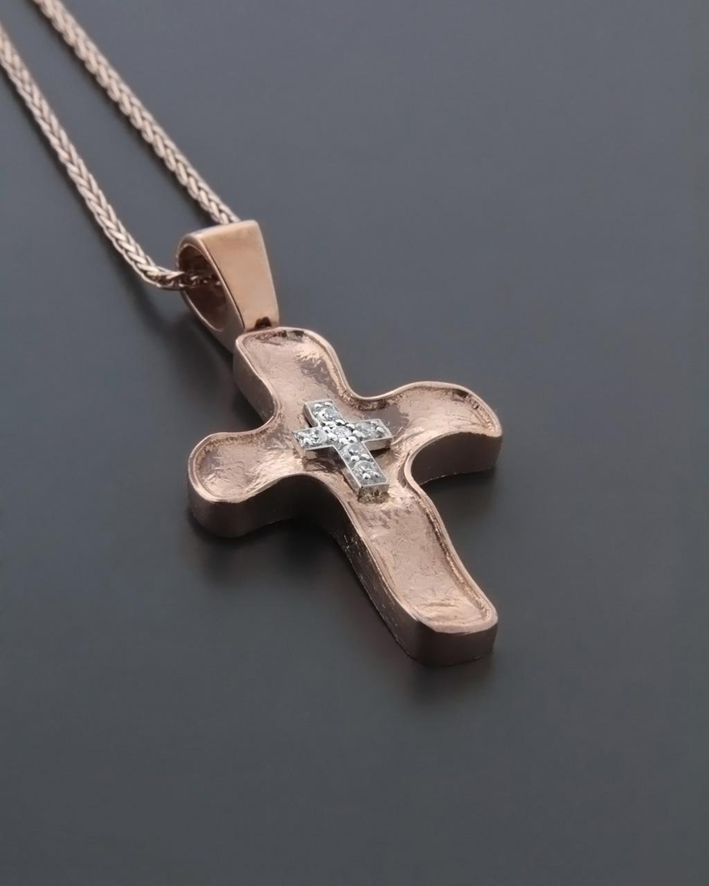 Σταυρός βαπτιστικός ροζ χρυσός & λευκόχρυσος Κ14 με Ζιργκόν   κοσμηματα σταυροί σταυροί ροζ χρυσό
