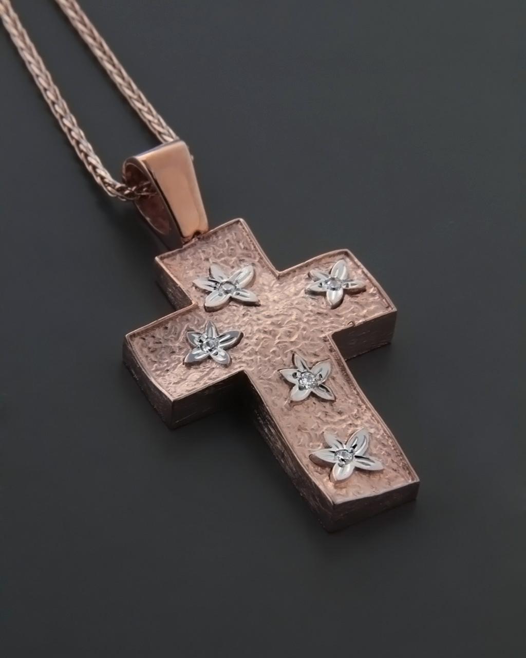 Σταυρός βαπτιστικός ροζ χρυσός & λευκόχρυσος Κ14 με Ζιργκόν   γυναικα σταυροί σταυροί ροζ χρυσό