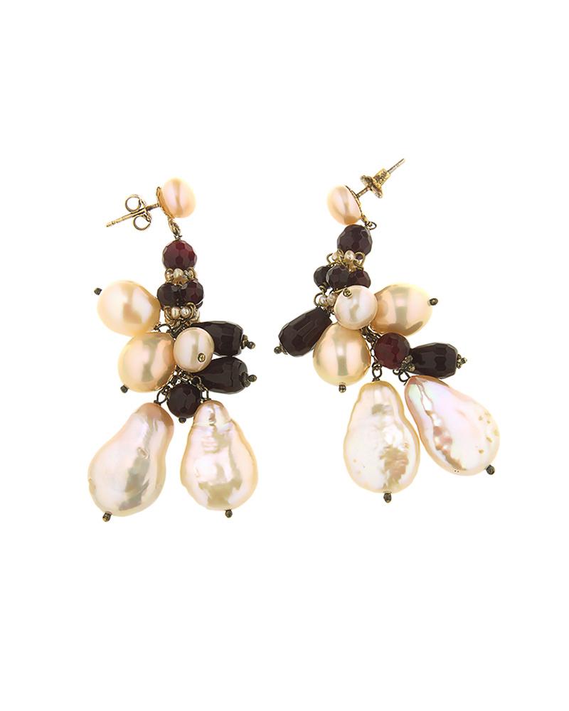 Σκουλαρίκια ασημένια 925 με Αμέθυστο & Μαργαριτάρια   γυναικα σκουλαρίκια σκουλαρίκια ημιπολύτιμοι λίθοι