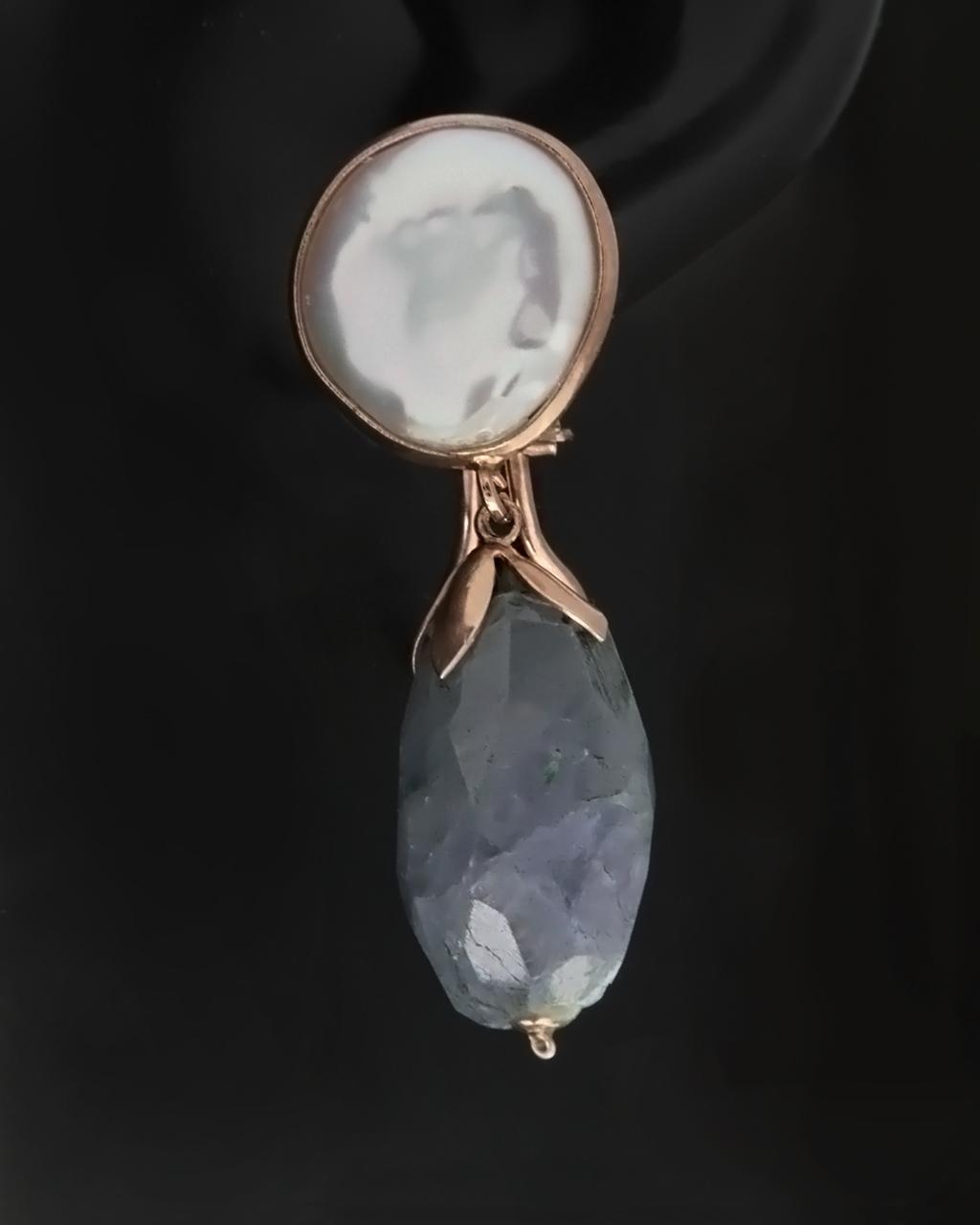 Σκουλαρίκια ασημένια 925 με Quartz & Μαργαριτάρια   γυναικα σκουλαρίκια σκουλαρίκια ημιπολύτιμοι λίθοι