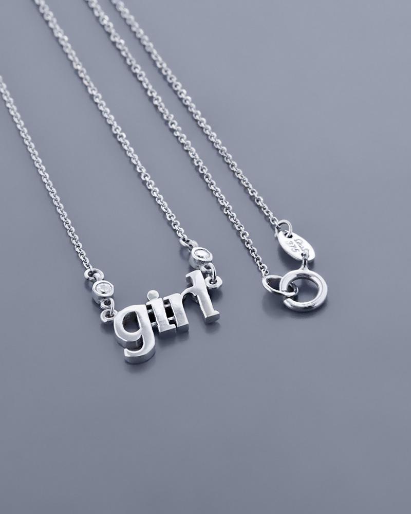 """Κολιέ """"girl"""" λευκόχρυσο Κ9 με Ζιργκόν   γυναικα κοσμήματα για τη μαμά"""