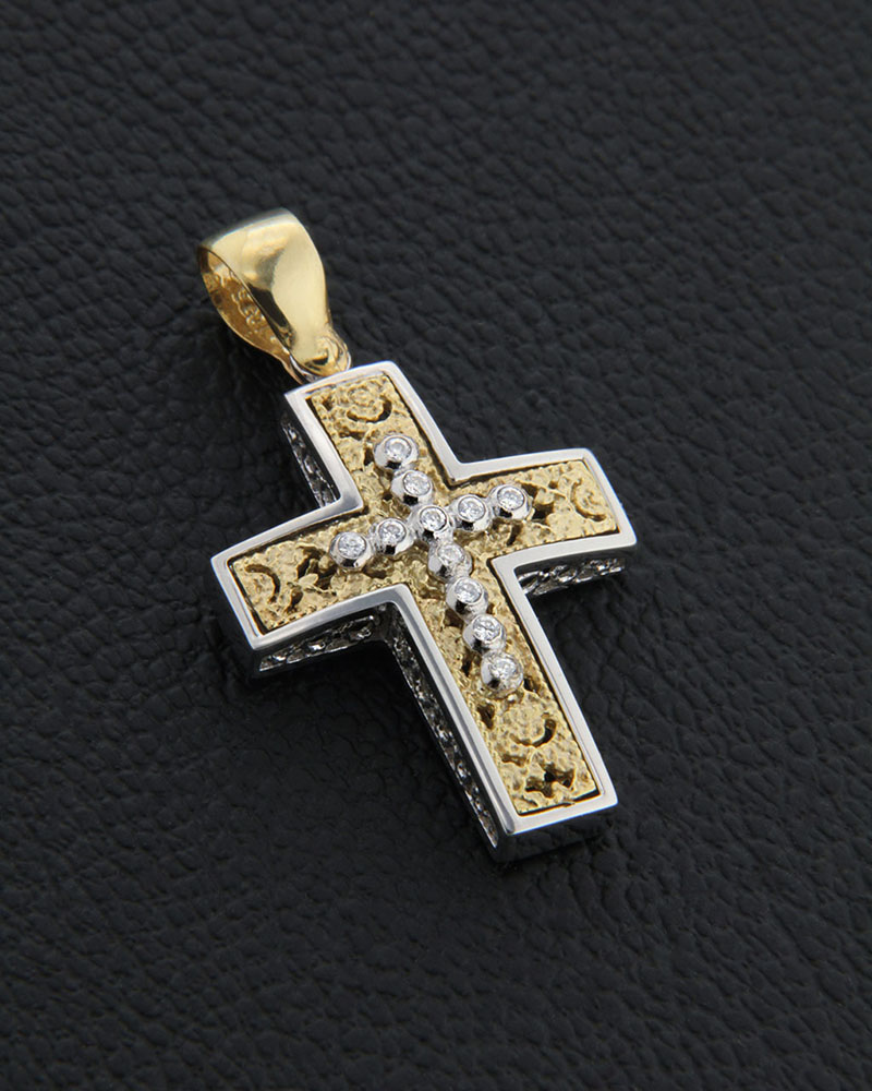 Σταυρός βάπτισης δύο όψεων χρυσός και λευκόχρυσος Κ14 με ζιργκόν