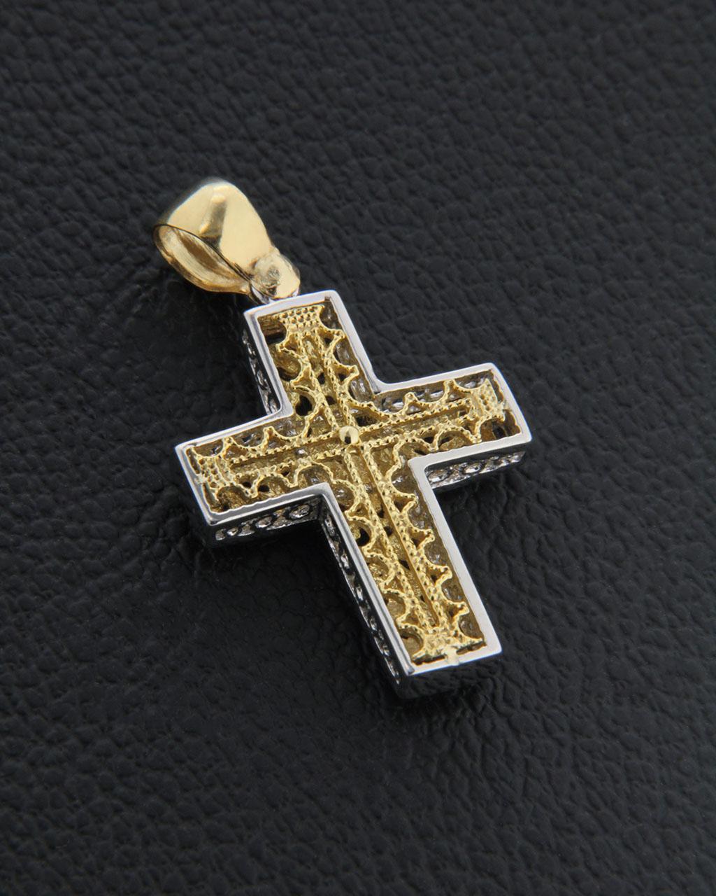 Σταυρός βάπτισης χρυσός & λευκόχρυσος Κ14 δύο όψεων   παιδι βαπτιστικοί σταυροί βαπτιστικοί σταυροί για αγόρι