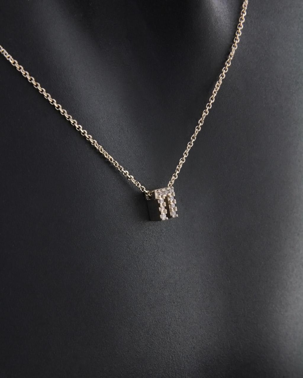 """Μονόγραμμα """"Π"""" χρυσό Κ9 με Ζιργκόν   γυναικα κρεμαστά κολιέ κρεμαστά κολιέ μονόγραμμα"""