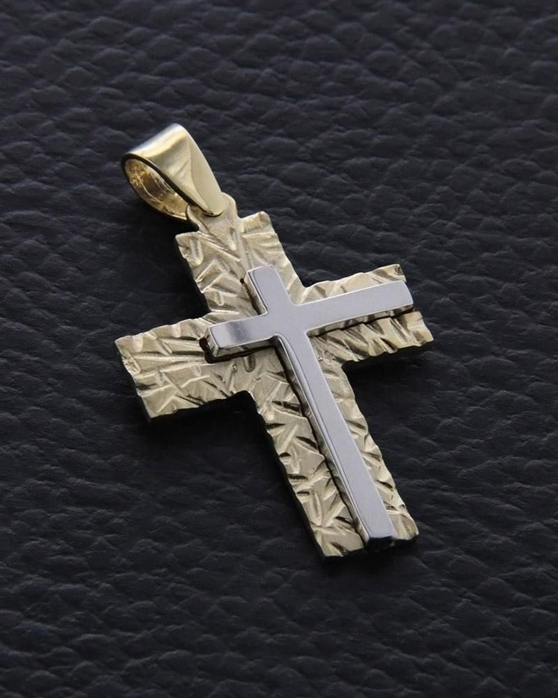 Σταυρός βαπτιστικός χρυσός & λευκόχρυσος Κ14