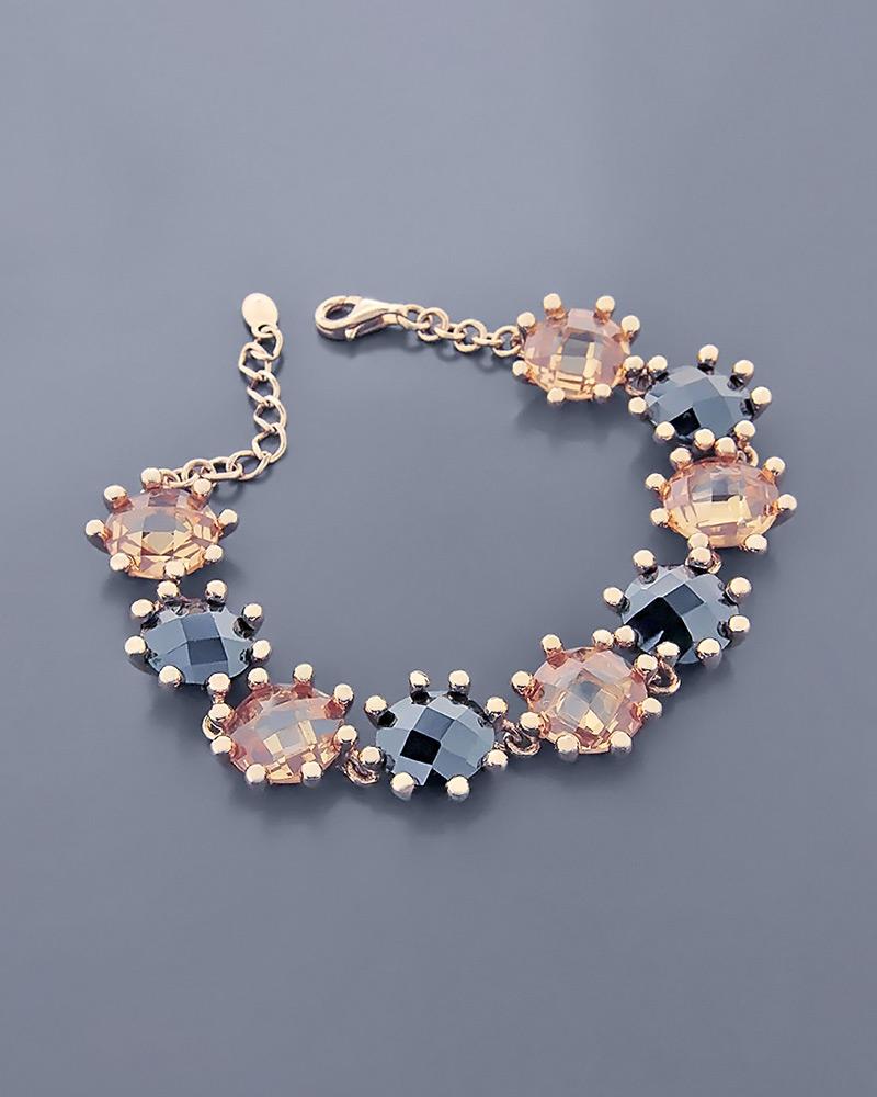 Βραχιόλι καρδιά ασημένιο 925 με quartz και όνυχα   γυναικα βραχιόλια βραχιόλια ημιπολύτιμοι λίθοι