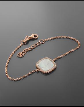 Βραχιόλι από ροζ επιχρυσωμένο ασήμι 925 με φίλντισι 7706f52284d