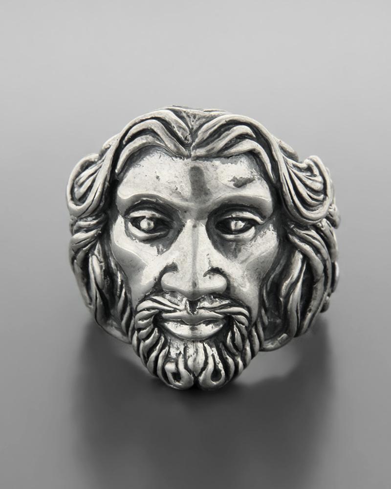 Ανδρικό ασημένιο 925 δαχτυλίδι πρόσωπο Χριστός   ανδρασ δαχτυλίδια ανδρικά