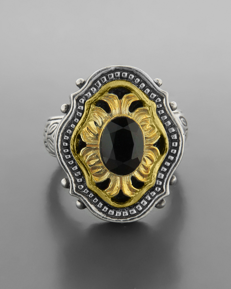 Ανδρικό ασημένιο 925 δαχτυλίδι επίχρυσο μοτίφ με γρανάδα   ανδρασ δαχτυλίδια ανδρικά