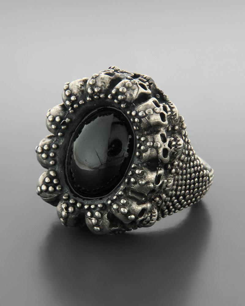 Ανδρικό ασημένιο 925 δαχτυλίδι μοτίφ νεκροκεφαλές με γρανάδα   ανδρασ δαχτυλίδια ανδρικά