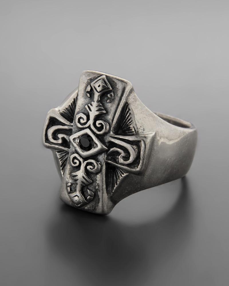 Ανδρικό ασημένιο 925 δαχτυλίδι περίτεχνος σταυρός με ζιργκόν   νεεσ αφιξεισ κοσμήματα ανδρικά