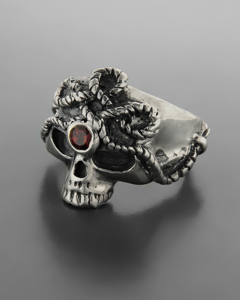 Ανδρικό ασημένιο 925 δαχτυλίδι νεκροκεφαλή με γρανάδα   ανδρασ δαχτυλίδια ανδρικά