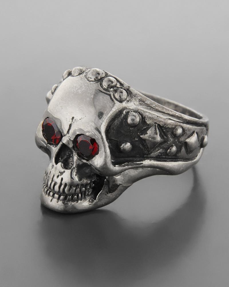 Ανδρικό ασημένιο 925 δαχτυλίδι νεκροκεφαλή με ζιργκον   ανδρασ δαχτυλίδια ανδρικά