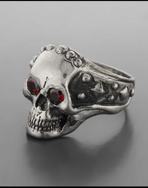 Ανδρικό ασημένιο 925 δαχτυλίδι νεκροκεφαλή με ζιργκον ad72688d6d6