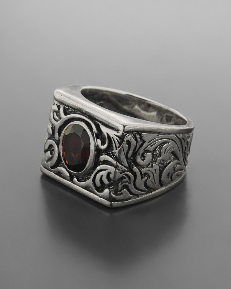 Ανδρικό ασημένιο 925 δαχτυλίδι με γρανάδα   ανδρασ δαχτυλίδια ανδρικά