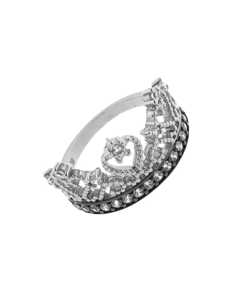 Δαχτυλίδι στέμμα ασημένιο 925 με ζιργκόν   κοσμηματα δαχτυλίδια δαχτυλίδια fashion