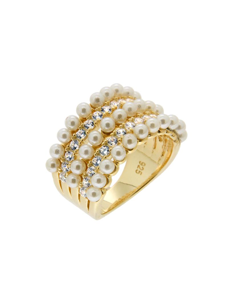 Δαχτυλίδι ασημένιο 925 με πέρλες και ζιργκόν