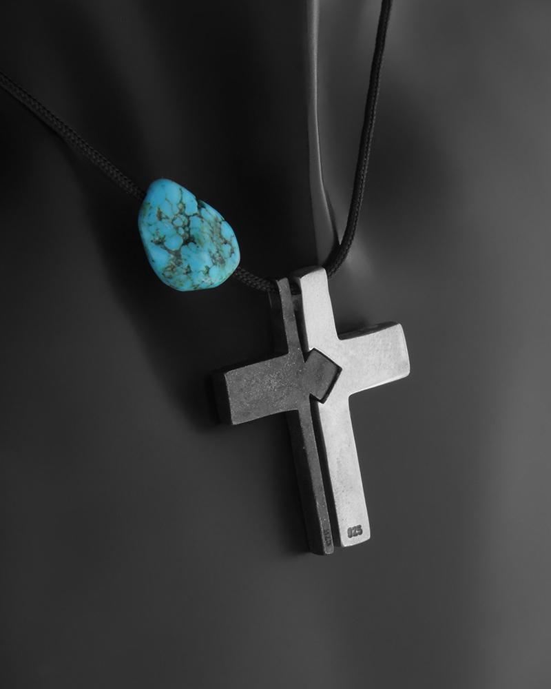 Ασημένιος 925 με μαύρο επιπλατίνωμα Σταυρός με τυρκουάζ   νεεσ αφιξεισ κοσμήματα ανδρικά