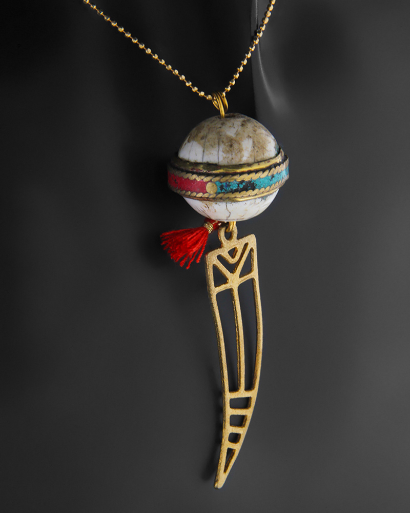 Κολιέ επίχρυσο από ασήμι 925 με ημιπολύτιμο λίθο   κοσμηματα κρεμαστά κολιέ κρεμαστά κολιέ fashion