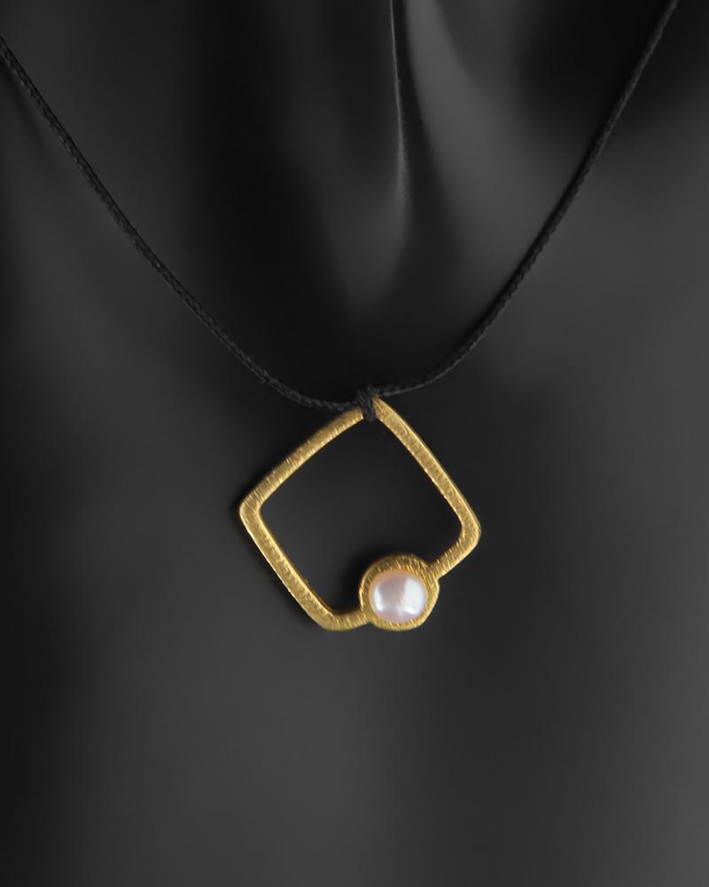 Επίχρυσο κολιέ ασημένιο 925 με μαργαριτάρι   κοσμηματα κρεμαστά κολιέ κρεμαστά κολιέ ασημένια