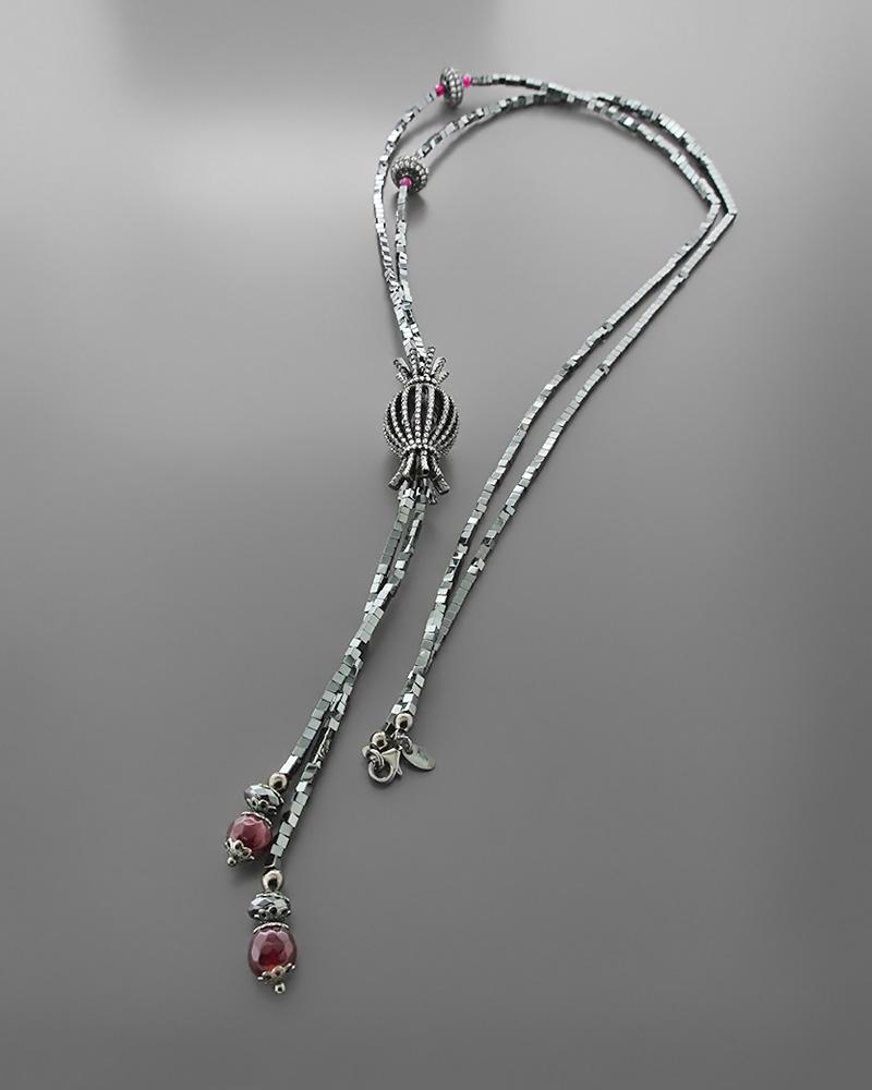 Κολιέ ασημένιο 925 με γρανάδα και αιματίτη   κοσμηματα κρεμαστά κολιέ κρεμαστά κολιέ ημιπολύτιμοι λίθοι