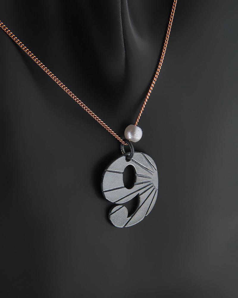 Κολιέ από μάυρο επιπλατινωμένο ασήμι 925 με τον αριθμό 9   κοσμηματα κρεμαστά κολιέ κρεμαστά κολιέ ασημένια