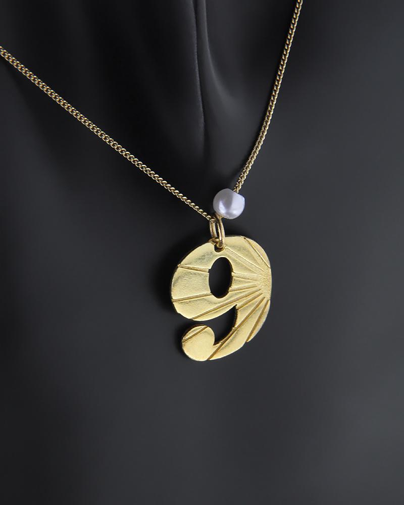 Κολιέ από επίχρυσο ασήμι 925 με τον αριθμό 9 με πέρλα   κοσμηματα κρεμαστά κολιέ κρεμαστά κολιέ ασημένια