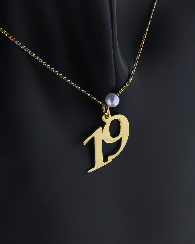 Επίχρυσο Κολιέ ασημένιο 925 με τον αριθμό 19   κοσμηματα κρεμαστά κολιέ κρεμαστά κολιέ ασημένια