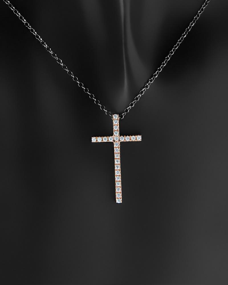 Κολιέ σταυρός ασημένιο 925 με ζιργκόν