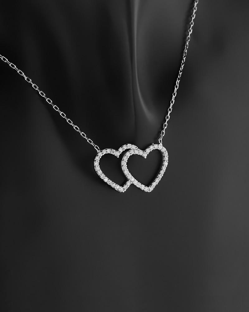 Κολιέ καρδιές ασημένιο 925 με ζιργκόν   νεεσ αφιξεισ κοσμήματα γυναικεία