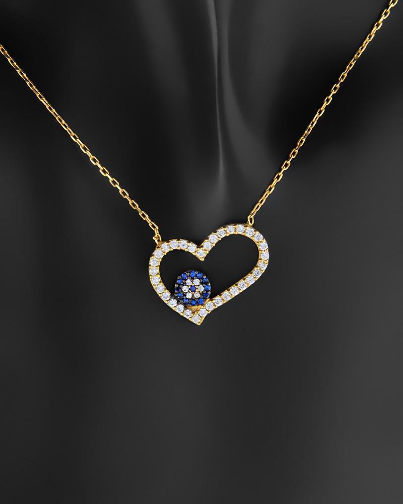 Κολιέ καρδιά με μάτι ασημένιο 925 με ζιργκόν   νεεσ αφιξεισ κοσμήματα γυναικεία