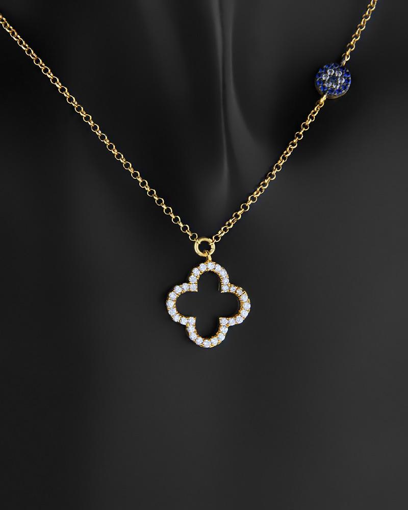 Κολιέ σταυρός με μάτι ασημένιο 925 με ζιργκόν   νεεσ αφιξεισ κοσμήματα γυναικεία
