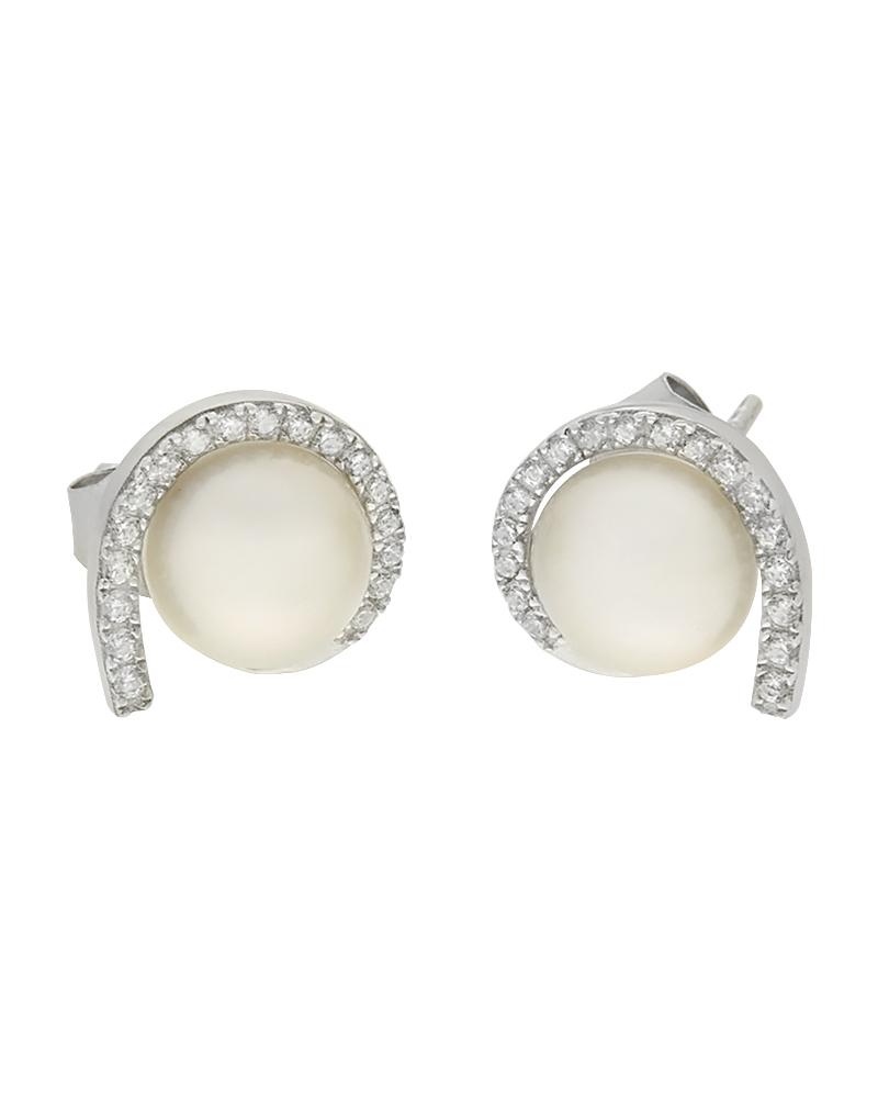Σκουλαρίκια ασημένια 925 με ζιργκόν και πέρλες
