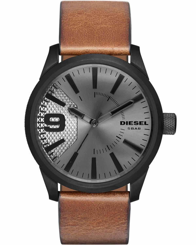 DIESEL Rasp Brown Leather Strap DZ1764   ρολογια diesel