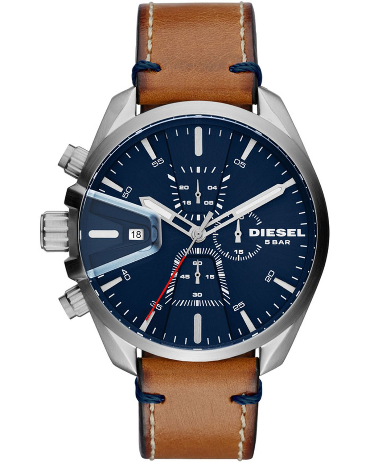 Ρολόι DIESEL MS 9 Chrono Dual Time Brown Leather Strap DZ4470   brands diesel