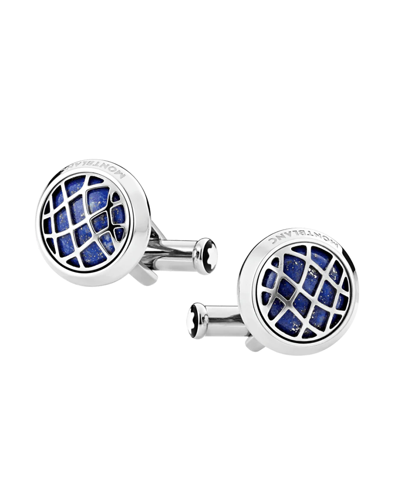 Montblanc 123801 Cufflinks, round in stainless steel with lapis