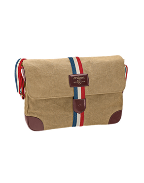 S.T. Dupont Iconic Messenger bag, Cotton, Leather, Beige, Flap-over, 191303