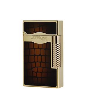 S.T. Dupont 023024 Ligne 2 Croco Dandy Lighter Gold trim, Brown
