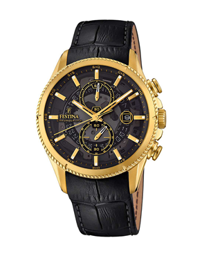 Ρολόι FESTINA Gold Black Leather Chronograph F20270-3