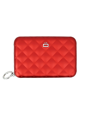 Ogon Card Case Red Quilted Zipper 3760127778462