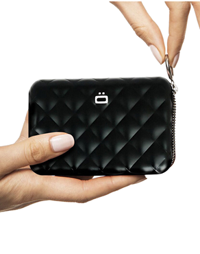 Ogon Black Card Case Quilted Zipper 3760127778998