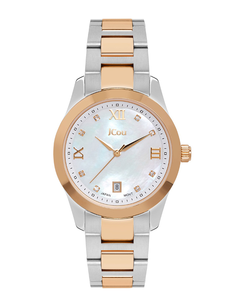 Ρολόι JCOU Pearl Crystals Two Tone Stainless Steel JU17065-2   ρολογια jcou